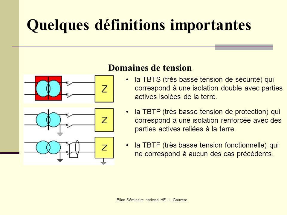 Bilan Séminaire national HE - L Gauzere Quelques définitions importantes Domaines de tension la TBTS (très basse tension de sécurité) qui correspond à