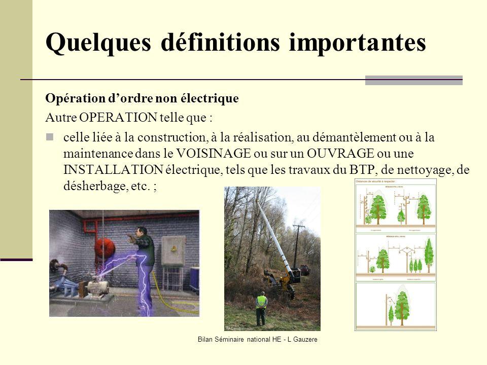 Bilan Séminaire national HE - L Gauzere Quelques définitions importantes Opération dordre non électrique Autre OPERATION telle que : celle liée à la c