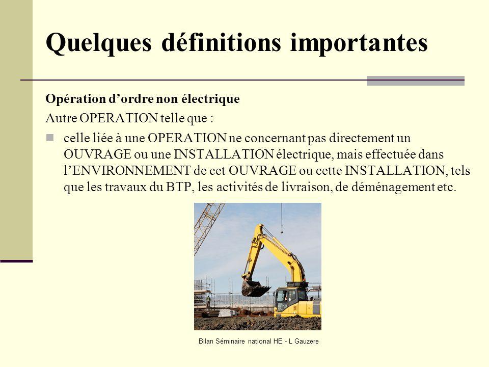 Bilan Séminaire national HE - L Gauzere Quelques définitions importantes Opération dordre non électrique Autre OPERATION telle que : celle liée à une
