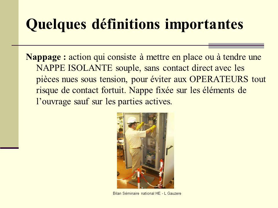 Bilan Séminaire national HE - L Gauzere Quelques définitions importantes Nappage : action qui consiste à mettre en place ou à tendre une NAPPE ISOLANT