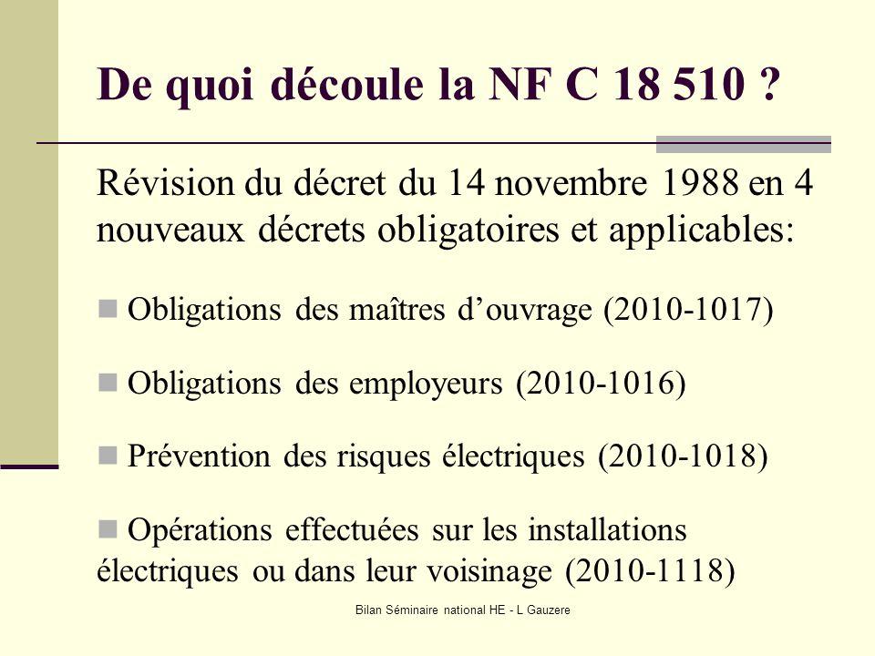 Bilan Séminaire national HE - L Gauzere De quoi découle la NF C 18 510 ? Révision du décret du 14 novembre 1988 en 4 nouveaux décrets obligatoires et