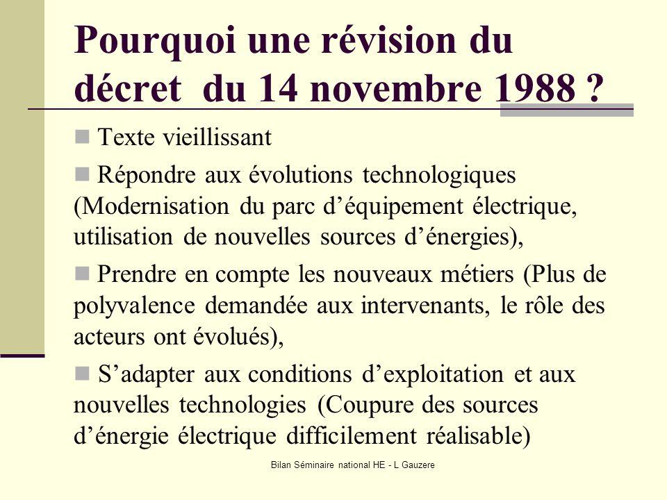 Bilan Séminaire national HE - L Gauzere Pourquoi une révision du décret du 14 novembre 1988 ? Texte vieillissant Répondre aux évolutions technologique