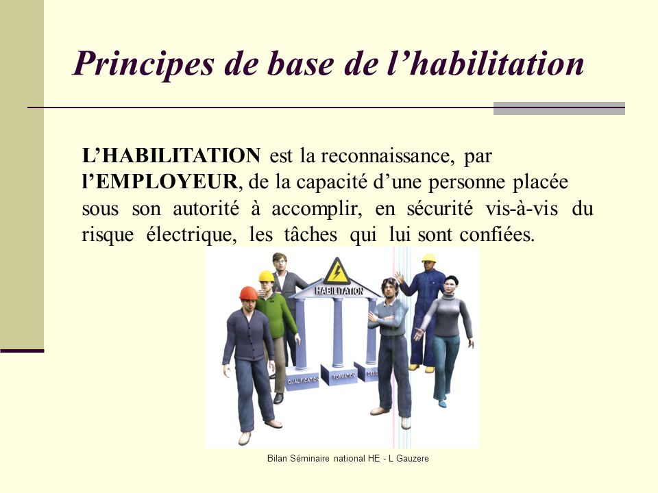 Bilan Séminaire national HE - L Gauzere LHABILITATION est la reconnaissance, par lEMPLOYEUR, de la capacité dune personne placée sous son autorité à a