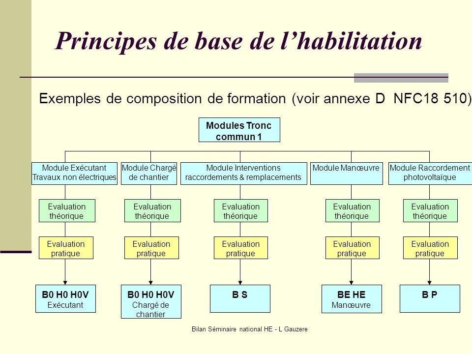 Bilan Séminaire national HE - L Gauzere Modules Tronc commun 1 Module Exécutant Travaux non électriques Module Chargé de chantier Module Interventions