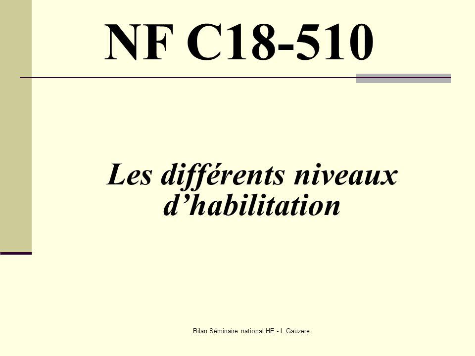 Bilan Séminaire national HE - L Gauzere Les différents niveaux dhabilitation NF C18-510