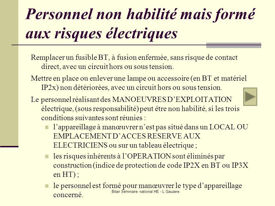 Bilan Séminaire national HE - L Gauzere Personnel non habilité mais formé aux risques électriques Remplacer un fusible BT, à fusion enfermée, sans ris