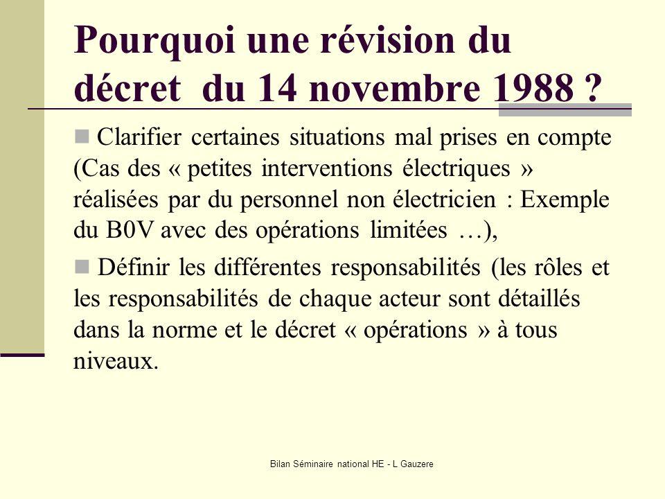 Bilan Séminaire national HE - L Gauzere Pourquoi une révision du décret du 14 novembre 1988 ? Clarifier certaines situations mal prises en compte (Cas