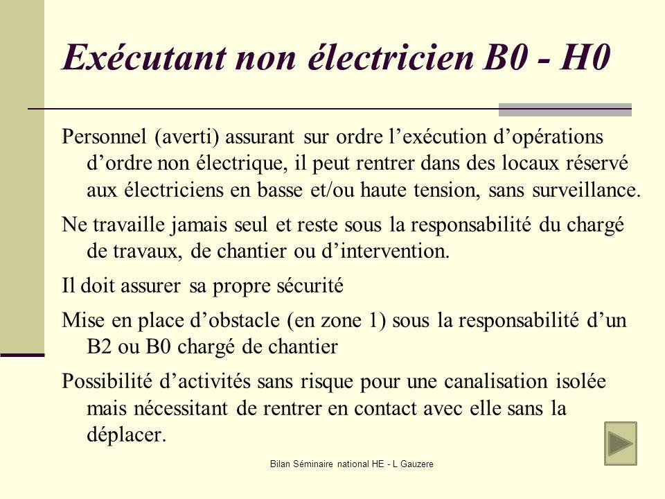 Bilan Séminaire national HE - L Gauzere Exécutant non électricien B0 - H0 Personnel (averti) assurant sur ordre lexécution dopérations dordre non élec
