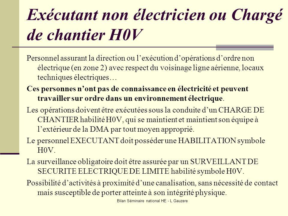 Bilan Séminaire national HE - L Gauzere Exécutant non électricien ou Chargé de chantier H0V Personnel assurant la direction ou lexécution dopérations