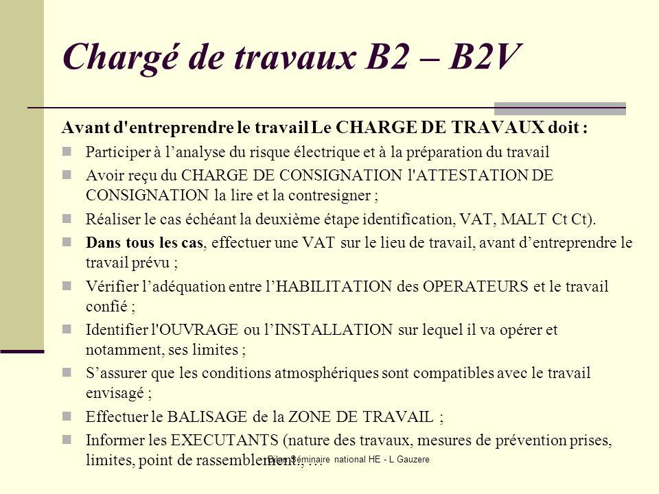 Bilan Séminaire national HE - L Gauzere Chargé de travaux B2 – B2V Avant d'entreprendre le travail Le CHARGE DE TRAVAUX doit : Participer à lanalyse d