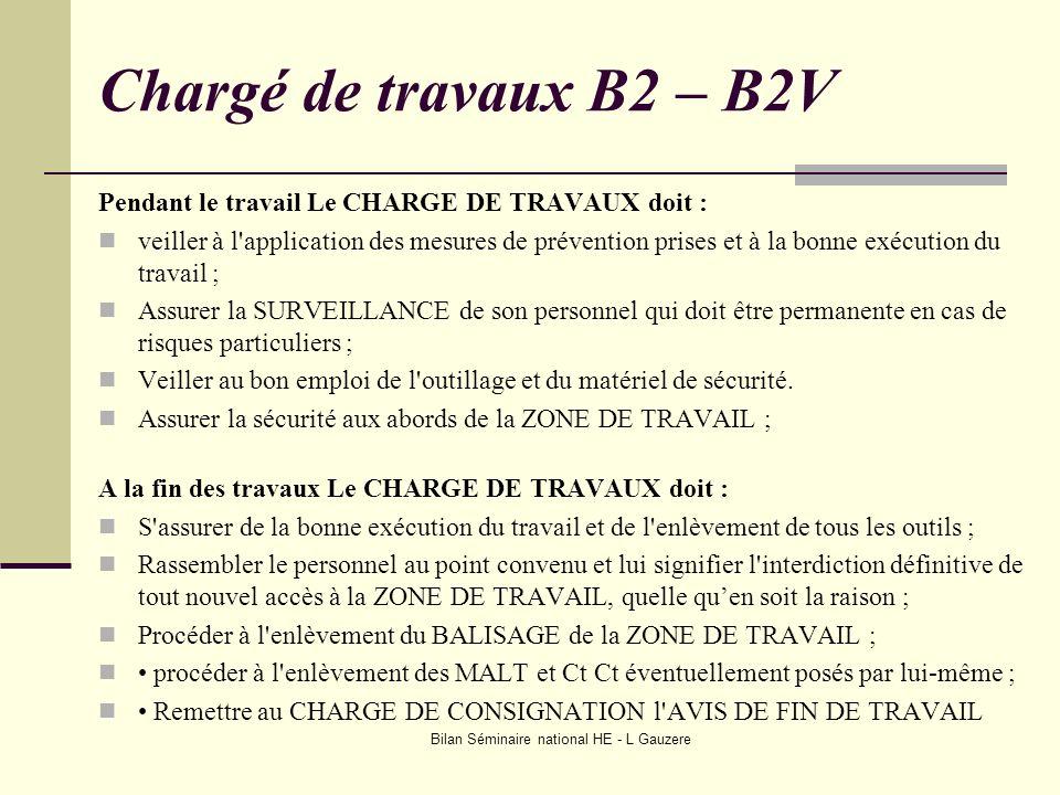 Bilan Séminaire national HE - L Gauzere Chargé de travaux B2 – B2V Pendant le travail Le CHARGE DE TRAVAUX doit : veiller à l'application des mesures