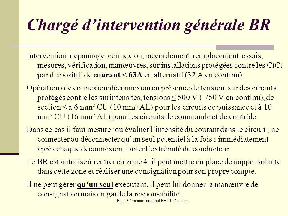 Bilan Séminaire national HE - L Gauzere Chargé dintervention générale BR Intervention, dépannage, connexion, raccordement, remplacement, essais, mesur