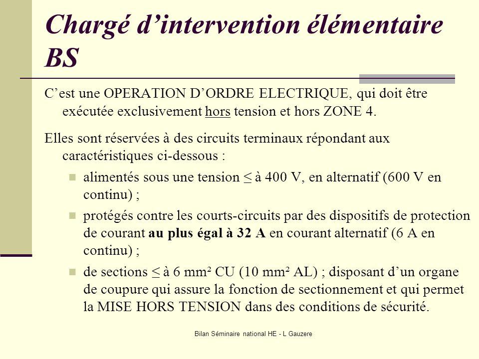 Bilan Séminaire national HE - L Gauzere Chargé dintervention élémentaire BS Cest une OPERATION DORDRE ELECTRIQUE, qui doit être exécutée exclusivement