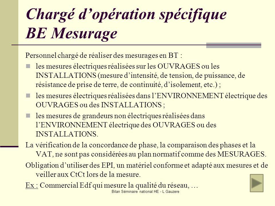 Bilan Séminaire national HE - L Gauzere Chargé dopération spécifique BE Mesurage Personnel chargé de réaliser des mesurages en BT : les mesures électr