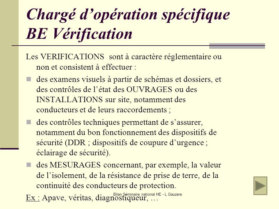Bilan Séminaire national HE - L Gauzere Chargé dopération spécifique BE Vérification Les VERIFICATIONS sont à caractère réglementaire ou non et consis