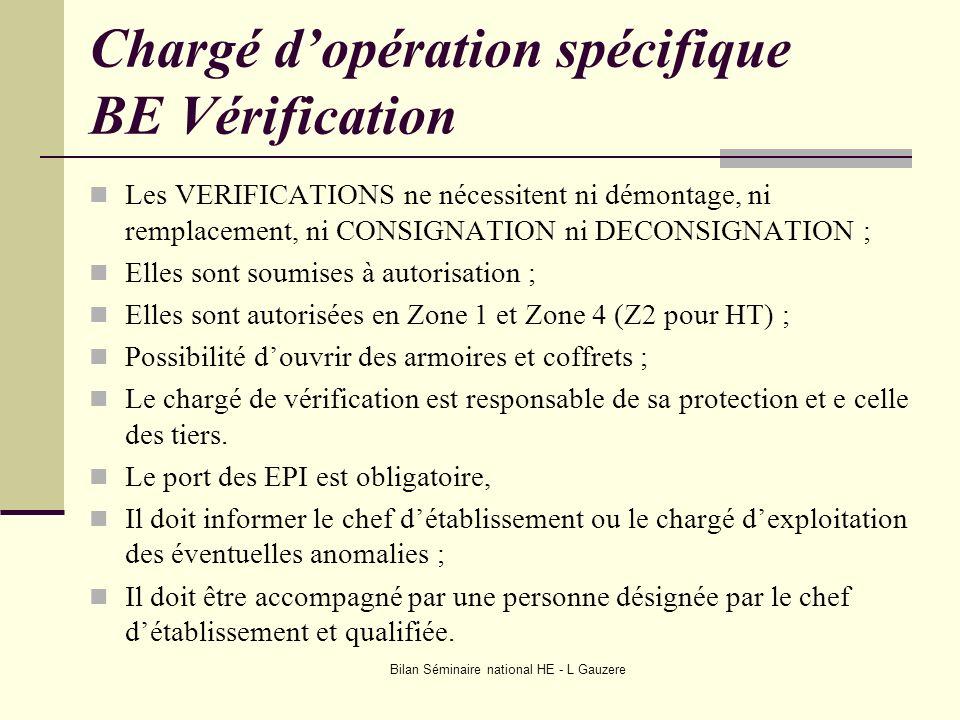 Bilan Séminaire national HE - L Gauzere Chargé dopération spécifique BE Vérification Les VERIFICATIONS ne nécessitent ni démontage, ni remplacement, n