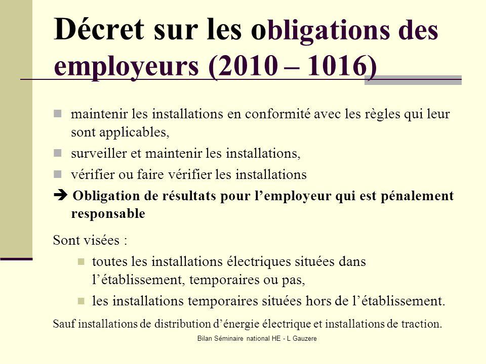 Bilan Séminaire national HE - L Gauzere Décret sur les o bligations des employeurs (2010 – 1016) maintenir les installations en conformité avec les rè
