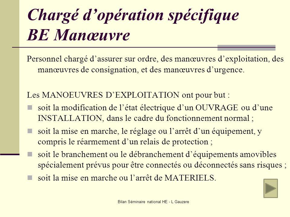 Bilan Séminaire national HE - L Gauzere Chargé dopération spécifique BE Manœuvre Personnel chargé dassurer sur ordre, des manœuvres dexploitation, des