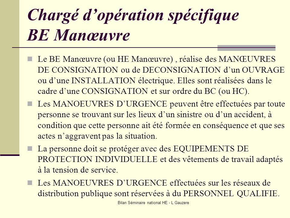 Bilan Séminaire national HE - L Gauzere Chargé dopération spécifique BE Manœuvre Le BE Manœuvre (ou HE Manœuvre), réalise des MANŒUVRES DE CONSIGNATIO