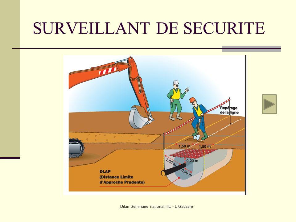 SURVEILLANT DE SECURITE Bilan Séminaire national HE - L Gauzere