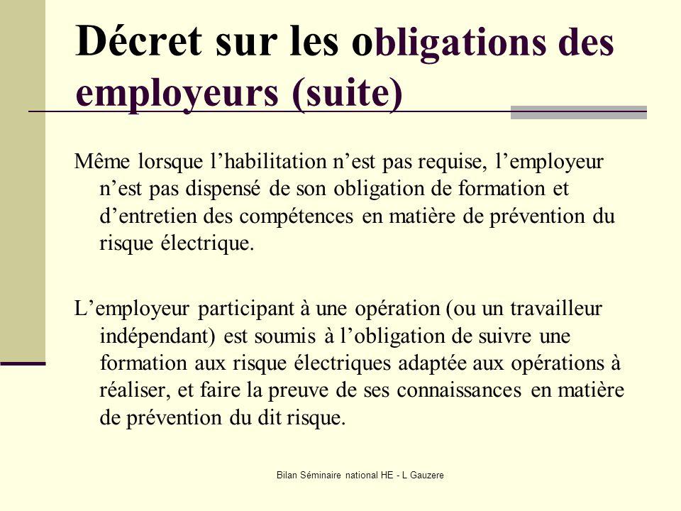 Bilan Séminaire national HE - L Gauzere Quelques définitions importantes Employeur personne physique qui emploie du personnel et a autorité sur lui.
