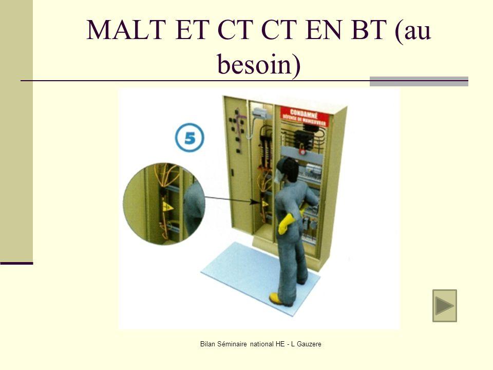 MALT ET CT CT EN BT (au besoin) Bilan Séminaire national HE - L Gauzere