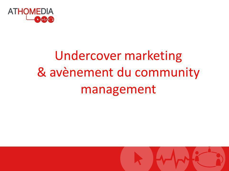 Plan Undercover marketing » Contexte » Définition » Objectifs » Les différentes formes » Cas pratiques Community management » La marque media » Principes et règles » Créer une communauté » Engagement