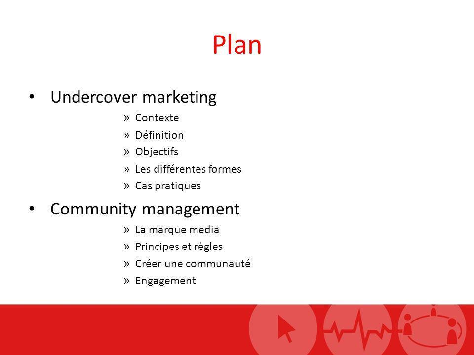 Plan Undercover marketing » Contexte » Définition » Objectifs » Les différentes formes » Cas pratiques Community management » La marque media » Princi