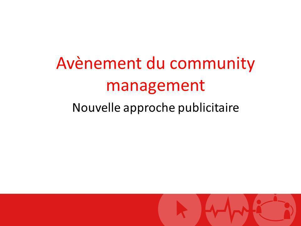 Avènement du community management Nouvelle approche publicitaire