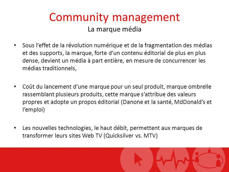 Community management La marque média Sous leffet de la révolution numérique et de la fragmentation des médias et des supports, la marque, forte dun co