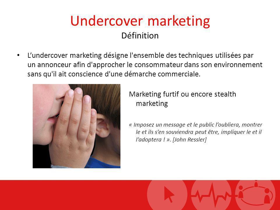 Undercover marketing Définition Lundercover marketing désigne l'ensemble des techniques utilisées par un annonceur afin d'approcher le consommateur da