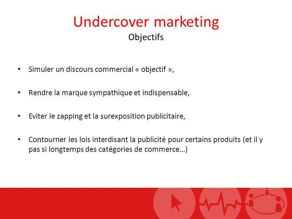 Undercover marketing Objectifs Simuler un discours commercial « objectif », Rendre la marque sympathique et indispensable, Eviter le zapping et la sur