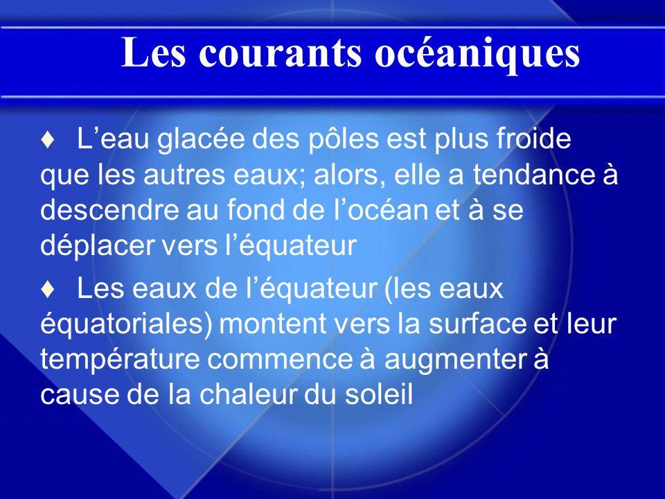 Les courants océaniques Leau glacée des pôles est plus froide que les autres eaux; alors, elle a tendance à descendre au fond de locéan et à se déplac