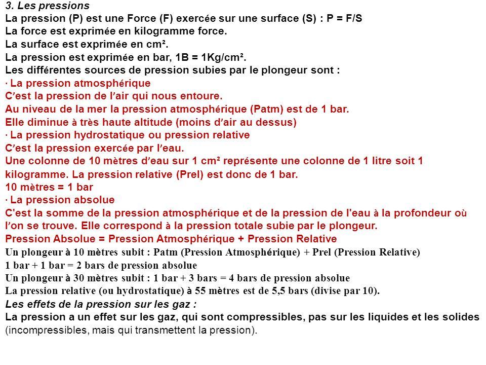 3. Les pressions La pression (P) est une Force (F) exerc é e sur une surface (S) : P = F/S La force est exprim é e en kilogramme force. La surface est