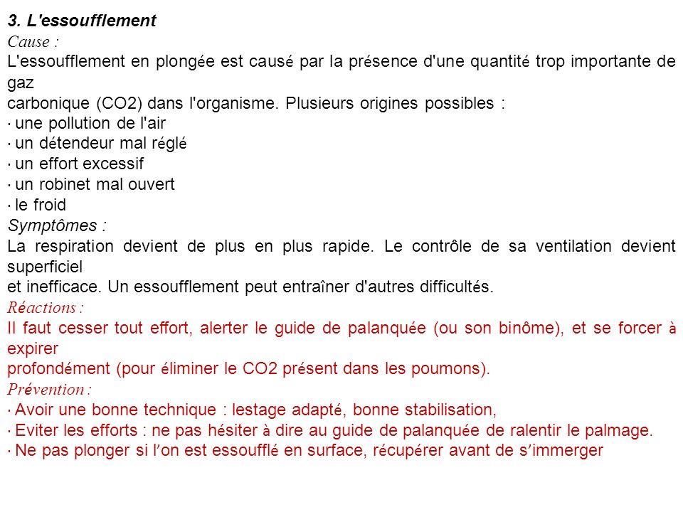 3. L'essoufflement Cause : L'essoufflement en plong é e est caus é par la pr é sence d'une quantit é trop importante de gaz carbonique (CO2) dans l'or