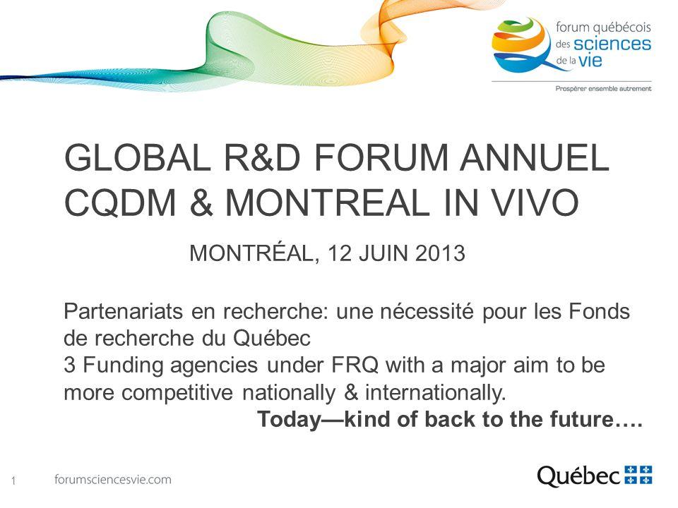 GLOBAL R&D FORUM ANNUEL CQDM & MONTREAL IN VIVO MONTRÉAL, 12 JUIN 2013 Partenariats en recherche: une nécessité pour les Fonds de recherche du Québec