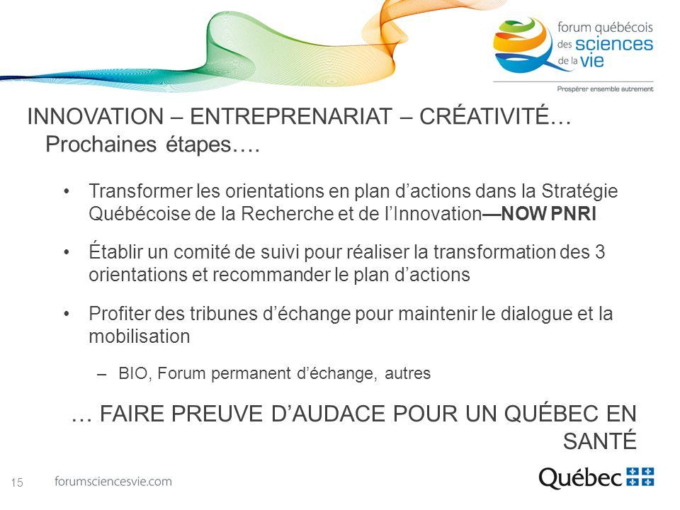 INNOVATION – ENTREPRENARIAT – CRÉATIVITÉ… Prochaines étapes…. Transformer les orientations en plan dactions dans la Stratégie Québécoise de la Recherc