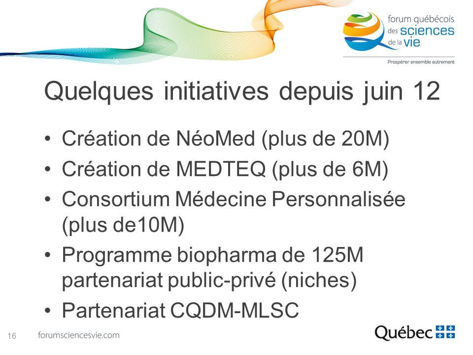 Quelques initiatives depuis juin 12 Création de NéoMed (plus de 20M) Création de MEDTEQ (plus de 6M) Consortium Médecine Personnalisée (plus de10M) Pr