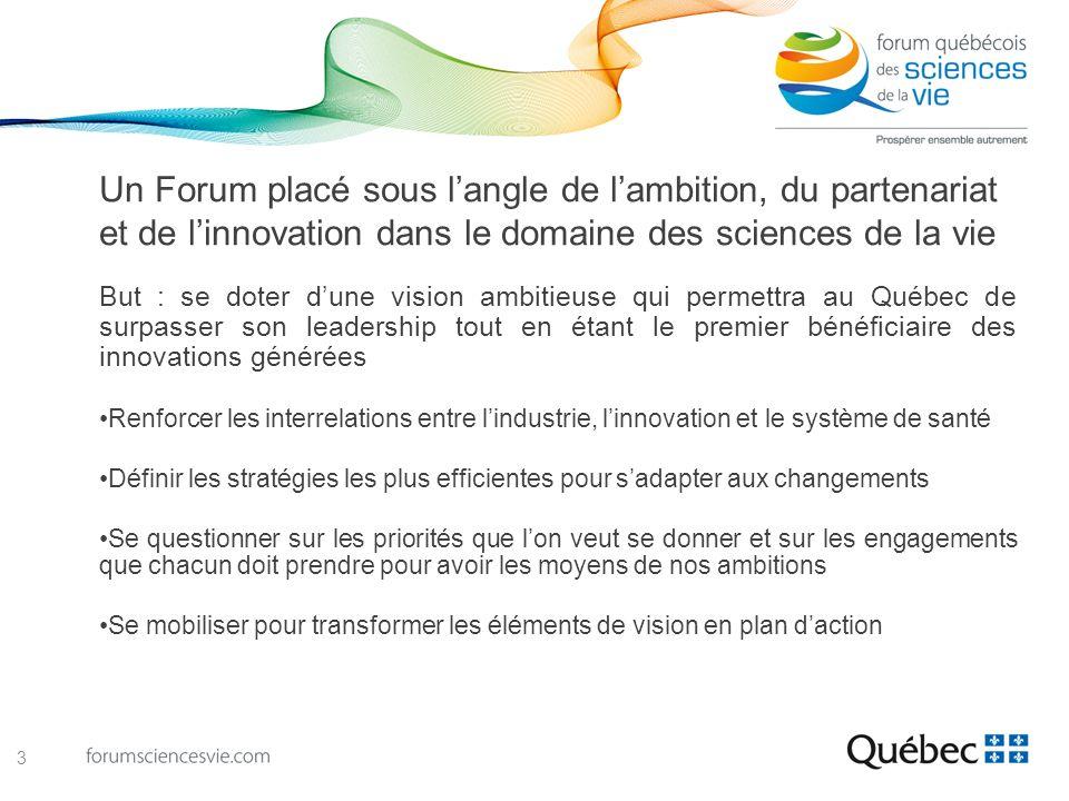 Constats et opportunités en trois citations … Le Québec doit davantage différencier son écosystème dinnovation Accroître le soutien à la recherche et à linnovation ; se doter de moyens pour concrétiser la valeur des découvertes Créer plus de partenariats entre le milieu universitaire, les professionnels de la santé, les organismes de réglementation et le secteur privé 4