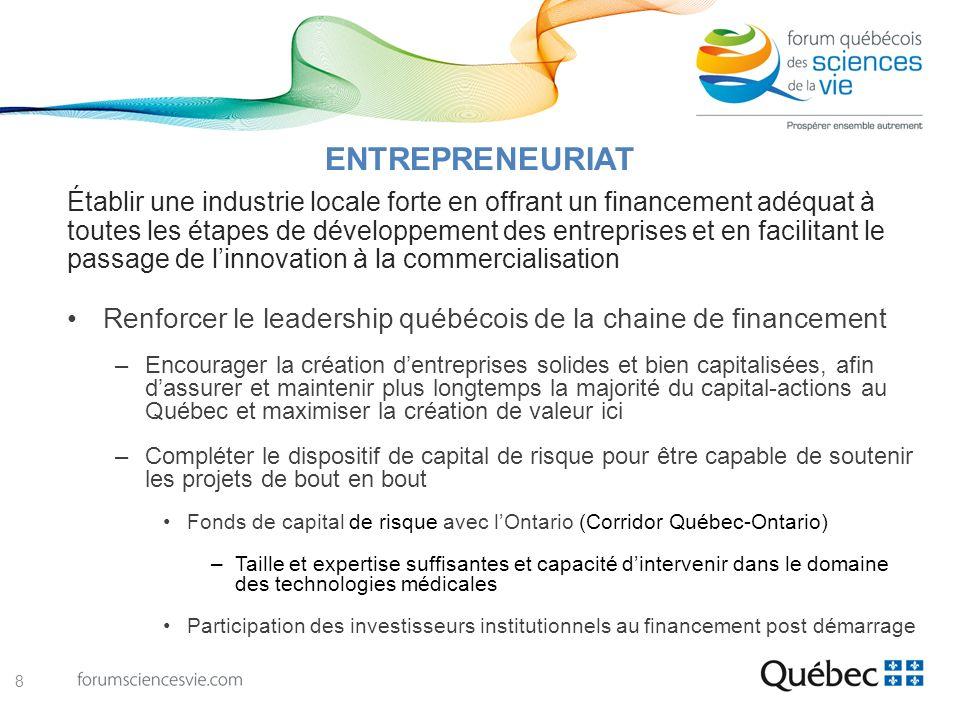 Renforcer le leadership québécois de la chaine de financement –Encourager la création dentreprises solides et bien capitalisées, afin dassurer et main