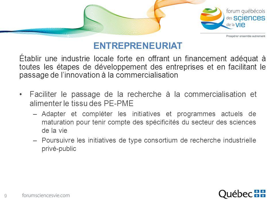 Faciliter le passage de la recherche à la commercialisation et alimenter le tissu des PE-PME –Adapter et compléter les initiatives et programmes actue