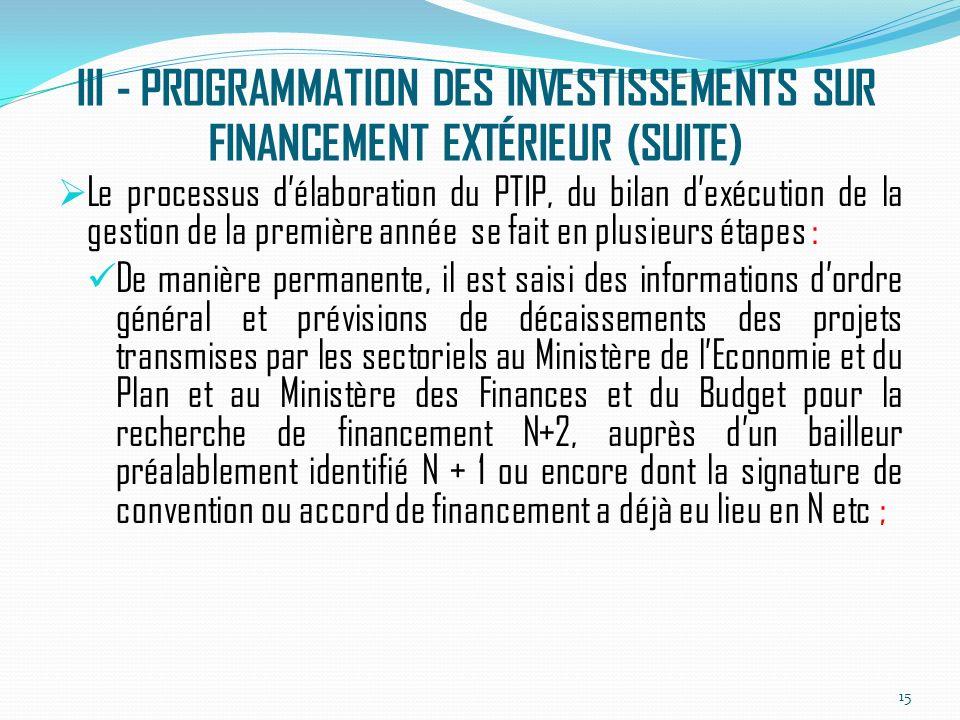 III - PROGRAMMATION DES INVESTISSEMENTS SUR FINANCEMENT EXTÉRIEUR (SUITE) Le processus délaboration du PTIP, du bilan dexécution de la gestion de la première année se fait en plusieurs étapes : De manière permanente, il est saisi des informations dordre général et prévisions de décaissements des projets transmises par les sectoriels au Ministère de lEconomie et du Plan et au Ministère des Finances et du Budget pour la recherche de financement N+2, auprès dun bailleur préalablement identifié N + 1 ou encore dont la signature de convention ou accord de financement a déjà eu lieu en N etc ; 15