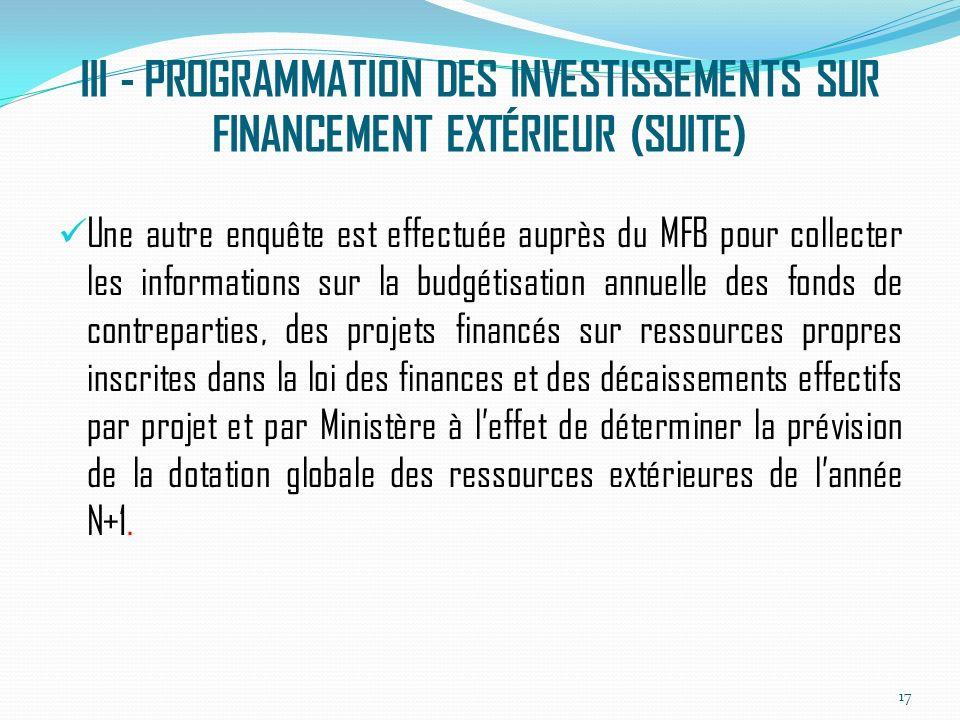 III - PROGRAMMATION DES INVESTISSEMENTS SUR FINANCEMENT EXTÉRIEUR (SUITE) Une autre enquête est effectuée auprès du MFB pour collecter les informations sur la budgétisation annuelle des fonds de contreparties, des projets financés sur ressources propres inscrites dans la loi des finances et des décaissements effectifs par projet et par Ministère à leffet de déterminer la prévision de la dotation globale des ressources extérieures de lannée N+1.