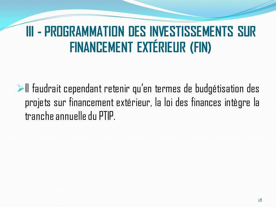 III - PROGRAMMATION DES INVESTISSEMENTS SUR FINANCEMENT EXTÉRIEUR (FIN) Il faudrait cependant retenir quen termes de budgétisation des projets sur financement extérieur, la loi des finances intègre la tranche annuelle du PTIP.