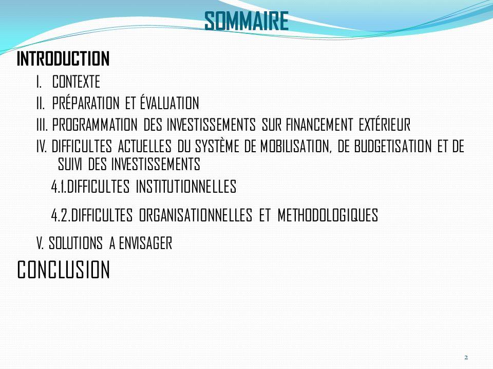 SOMMAIRE INTRODUCTION I. CONTEXTE II. PRÉPARATION ET ÉVALUATION III.