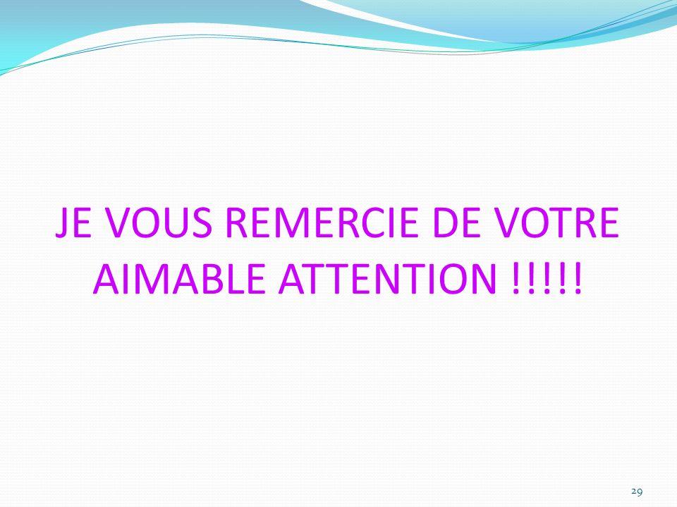 JE VOUS REMERCIE DE VOTRE AIMABLE ATTENTION !!!!! 29
