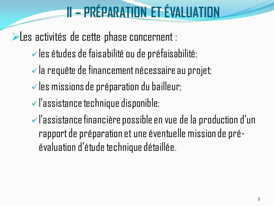 II – PRÉPARATION ET ÉVALUATION (SUITE) Le PTF impliqué organise généralement une mission dévaluation pour passer en revue létude de faisabilité, examine la justification technique, économique et financière du projet.