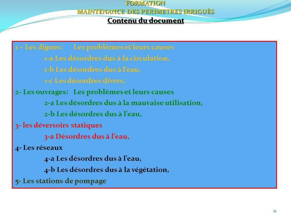 11FORMATION MAINTENANCE DES PERIMETRES IRRIGUÈS Contenu du document 1 – Les digues:Les problèmes et leurs causes 1-a Les désordres dus à la circulatio