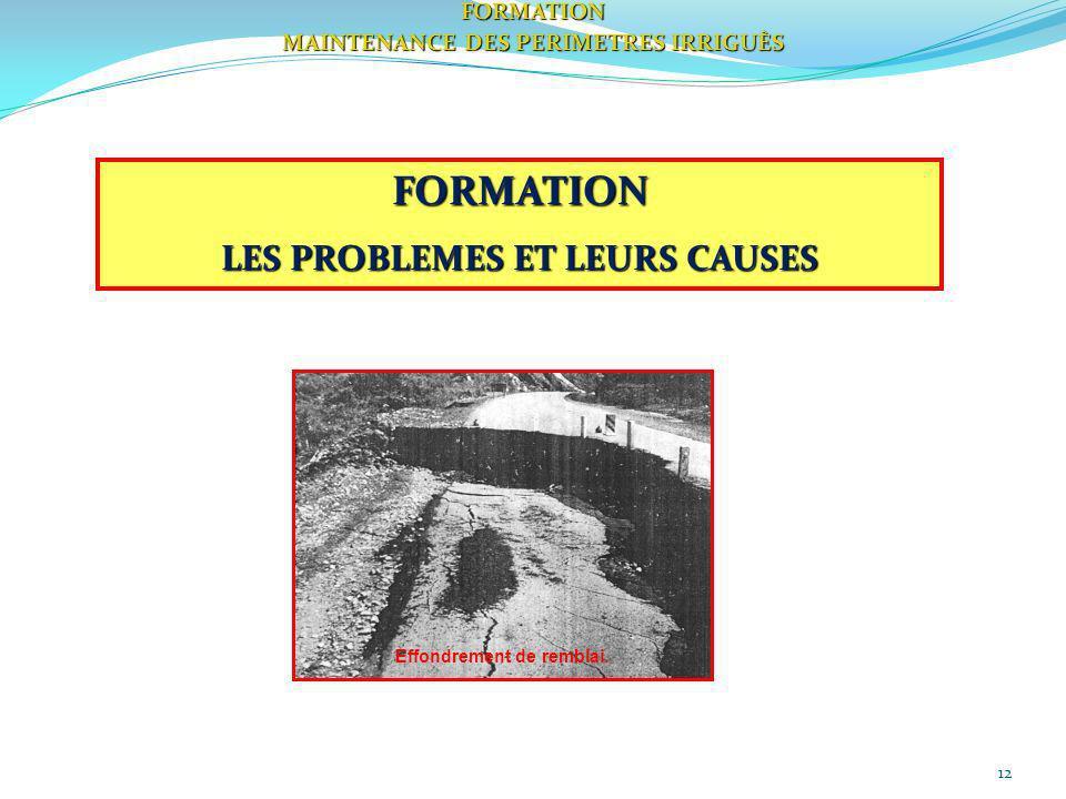 12 FORMATION LES PROBLEMES ET LEURS CAUSES FORMATION MAINTENANCE DES PERIMETRES IRRIGUÈS Effondrement de remblai.