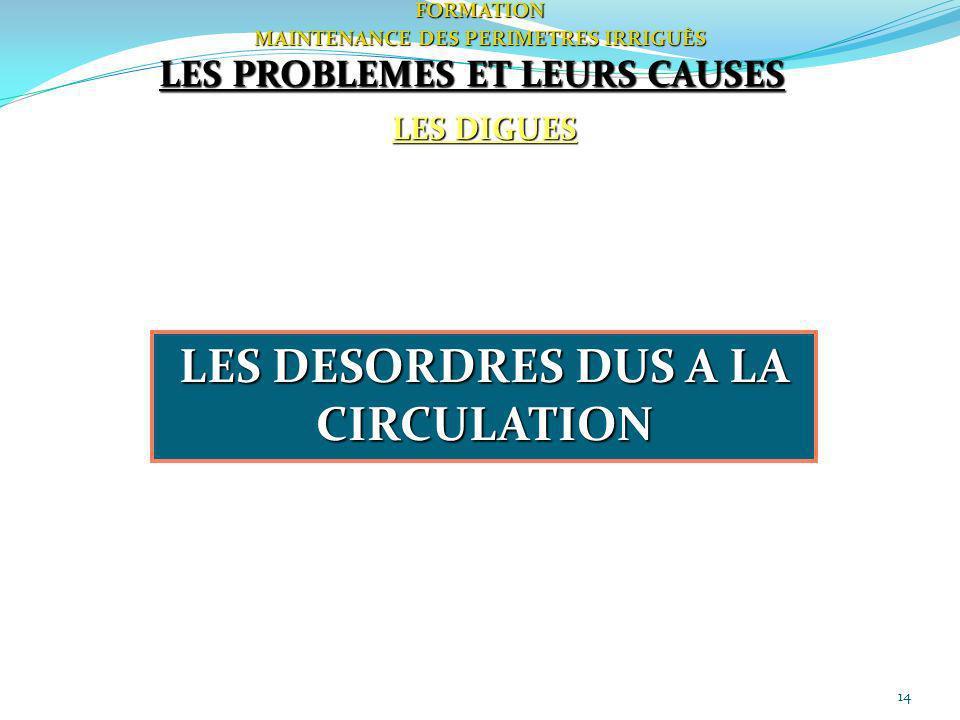 14FORMATION MAINTENANCE DES PERIMETRES IRRIGUÈS LES DIGUES LES PROBLEMES ET LEURS CAUSES LES DESORDRES DUS A LA CIRCULATION
